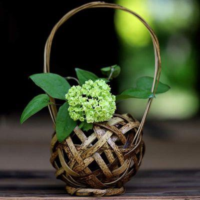 虎竹花籠  てまり一輪