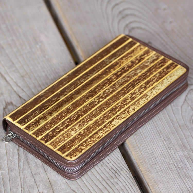 虎竹ジッパー付き長財布