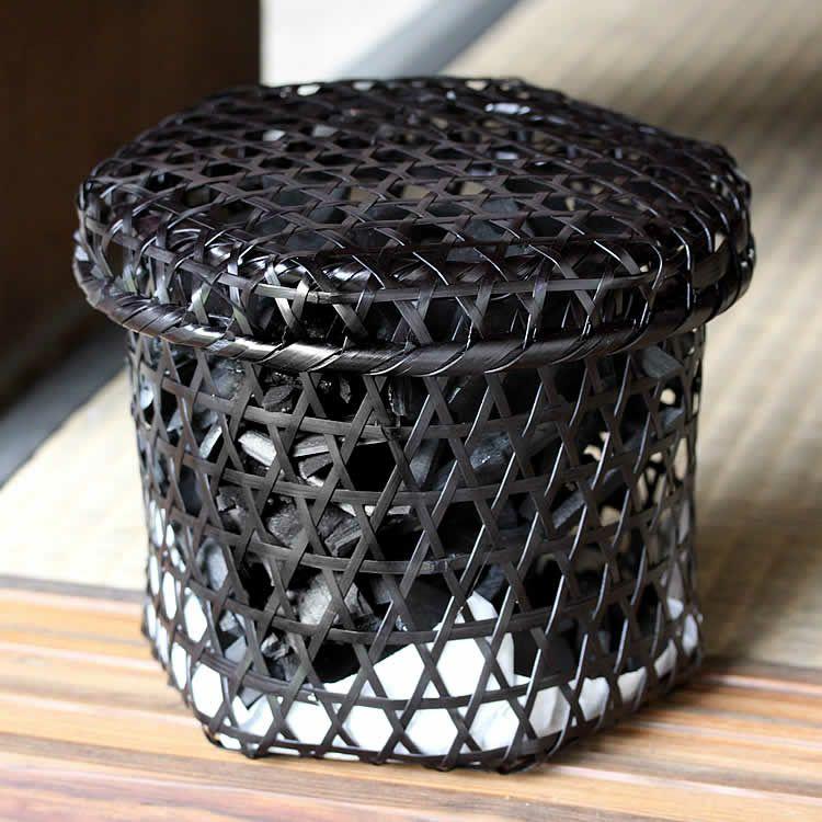 【国産・日本製】黒編み六ツ目竹炭かご縦長