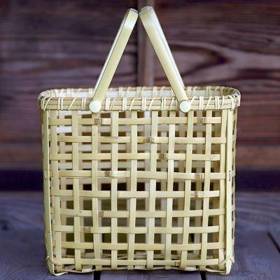 白竹粗四ツ目縦長手提げ籠バッグ