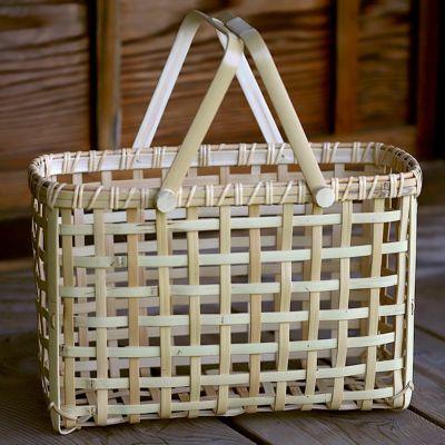 白竹粗四ツ目横長手提げ籠バッグ