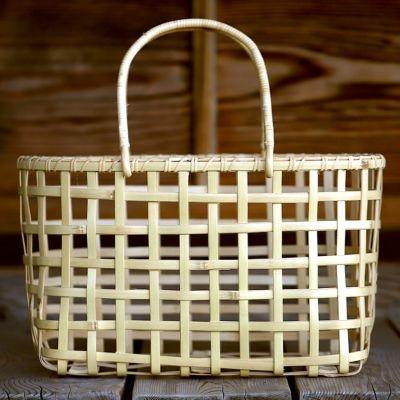 白竹粗四ツ目楕円手提げ籠バッグ